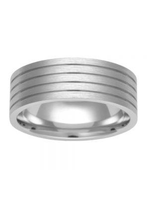 9ct Brushed White Gold Gents' Wedding Ring