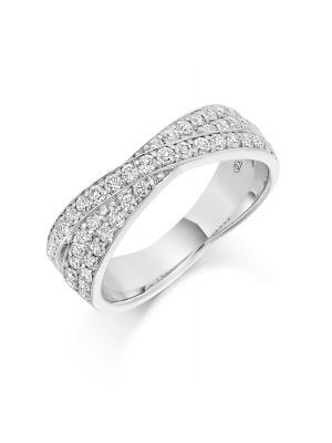 18ct white gold three row crossover diamond wedding band