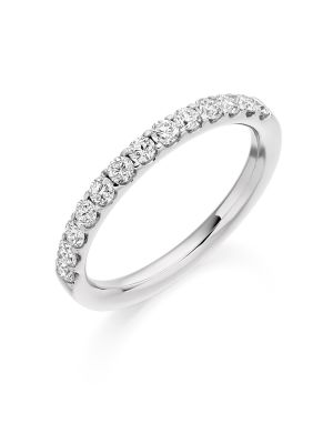 18ct white gold round brilliant claw set diamond wedding band