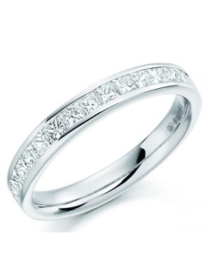 18ct white gold princess cut diamond wedding ring