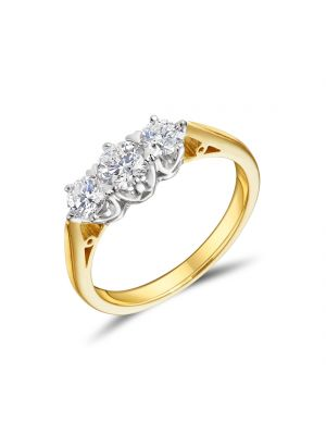 18ct Yellow Gold 3 Stone Graduated Ring