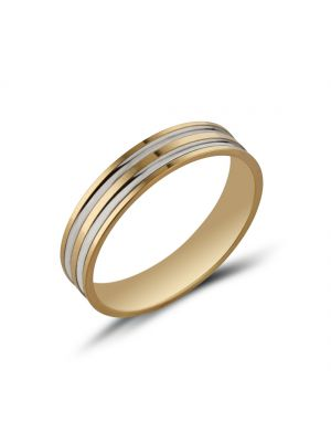 9ct Two Tone Gents Wedding Band