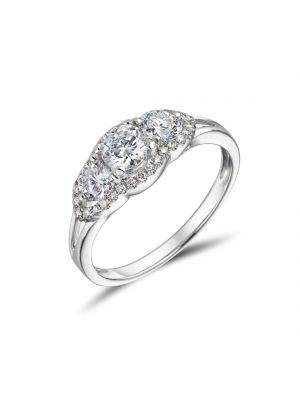 18ct White Gold Split Band 3 Stone Ring
