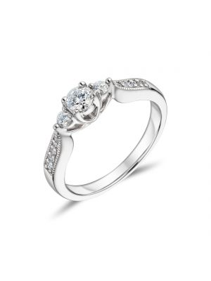 18ct White Gold Three Stone and Diamond Shoulder Engagement Ring