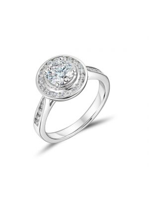 18ct White Gold Round Brilliant Halo Engagement Ring