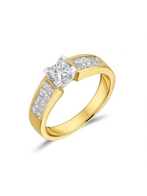 18ct Yellow Gold Princess Cut Diamond Ring with Two Row Shoulder