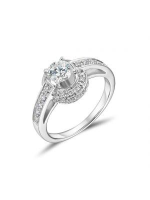 18ct white gold single stone diamond halo ring with diamond shoulders