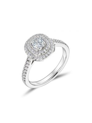 Platinum Double Halo Engagement Ring