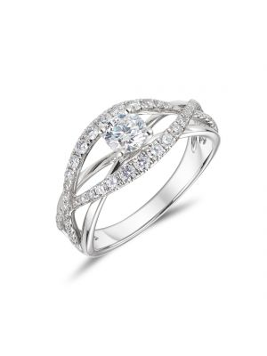 18ct white gold bow shaped diamond halo ring
