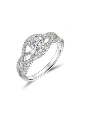 18ct white gold diamond bow shaped diamond halo ring