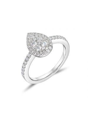 18ct White Gold Pear Shaped Engagement Ring