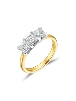 18ct Yellow Gold Princess Cut 3 Stone Diamond Ring
