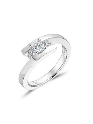 18ct White Gold Twist Three Stone Engagement Ring