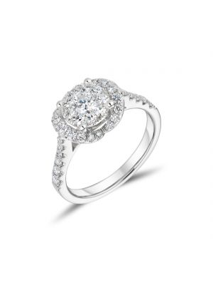 18ct White Gold Diamond Cluster and Halo Ring