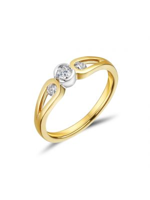 18ct Yellow Gold Bezel Set Three Stone Diamond Engagement Ring