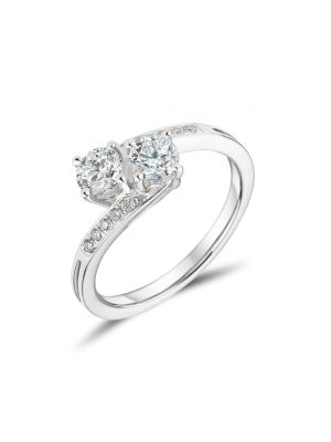 18ct white gold two stone diamond twist engagement ring
