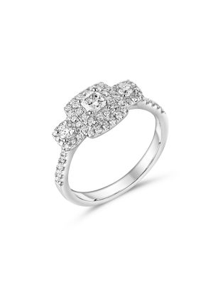 18ct White Gold Princess Cut Diamond and Halo three Stone Ring