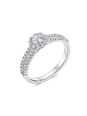 18ct White Gold Halo and Split Diamond Shoulder Ring