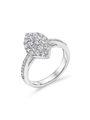 18ct white gold fancy cut style diamond engagement ring with diamonds on the shoulder