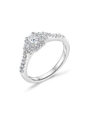 18ct white gold fancy cut diamond engagement ring