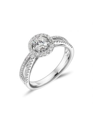 18ct White Gold Split Shoulder and Halo Engagement Ring