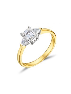 18ct Yellow Gold Emerald and Trilliant Cut Diamond Engagement Ring