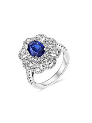 18ct white gold Oval sapphire and diamond ring with diamonds down each shoulder