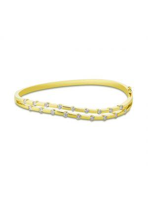 18ct yellow gold wave style diamond bangle