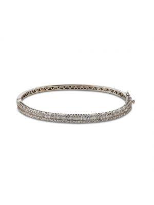 18ct white gold diamond bangle with baquette and round brilliant bangle