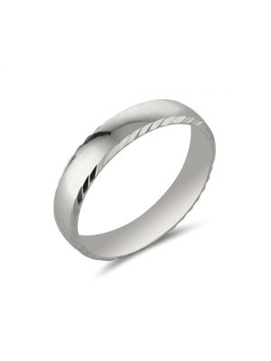 9ct White Gold Polished Comfort Fit Gents Wedding Band