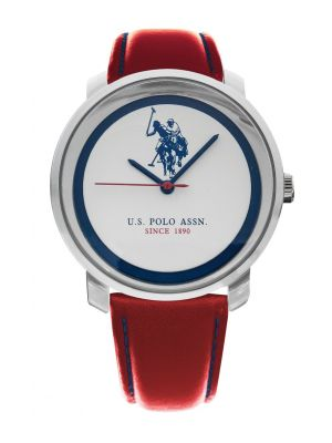 US Polo assoc Stainless steel & red leather strap watch