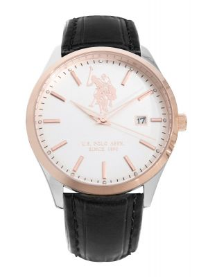 US Polo Ass Black leather steel & rose dress watch