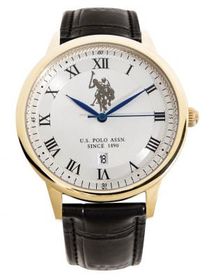 US polo assoc gents gold plated black leather strap watch