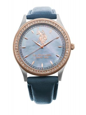 US polo ass  ladies rose gold plate stone set watch with blue dial & strap