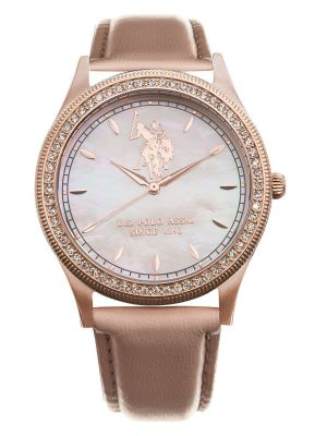 US polo ass ladies rose gold plated stone set watch with pink dial & strap