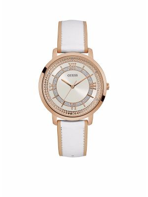 Ladies Guess roseplate stone set watch with white leather strap