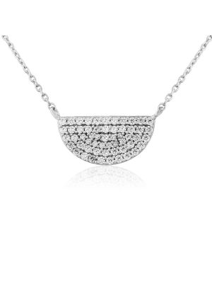 Sterling silver cz half moon pendant