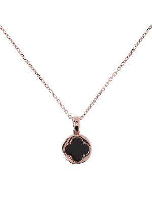 Bronzallure Alba Shiny Flower Shape Black Onyx Pendant