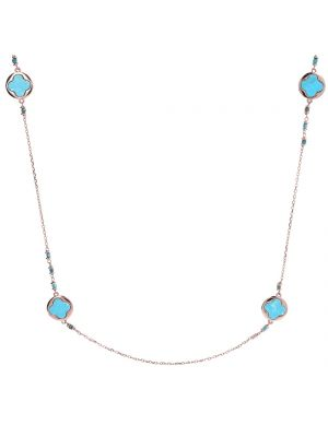 Bronzallure Magnesite Flower Chain Clover Necklace