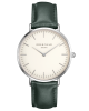 Rosefield Bowery stainless steel watch with green leather strap